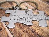 I love you to infinity and Beyond couples keychains, puzzle piece keychain set