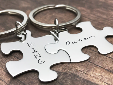 King Queen Keychains, Couples Keychains, Puzzle Keychains , Anniversary Gift