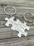 I love you mostest, Couples Keychains, Stamped Puzzle Keychains