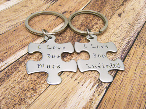 I love you more, I love you infinity, Couples Keychains, Couples Gift