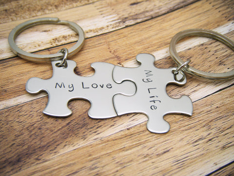 My Love My Life, Couples keychains, Anniversary Gift, Couples Gift