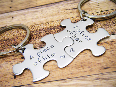 A piece of Him, A piece of her, Couples Keychains, Puzzle Piece Keychains
