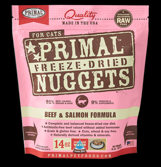 Primal Cat Raw Freeze-Dried Beef and Salmon Nuggets