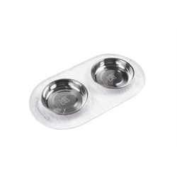 Messy Cats Double Silicone Feeder with Stainless Saucer Bowls 1.75 Cups, Marble