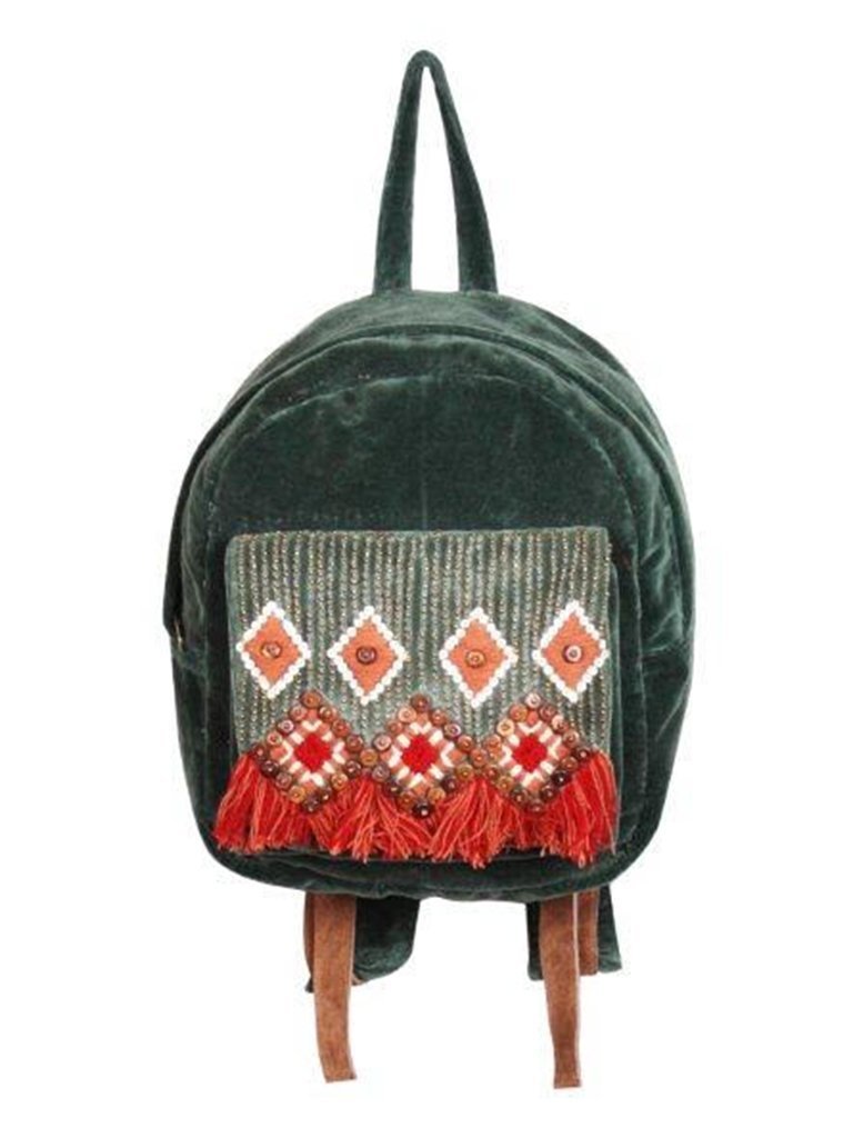 ABS Backpack Pineneedle Embellished Velvet Backpack
