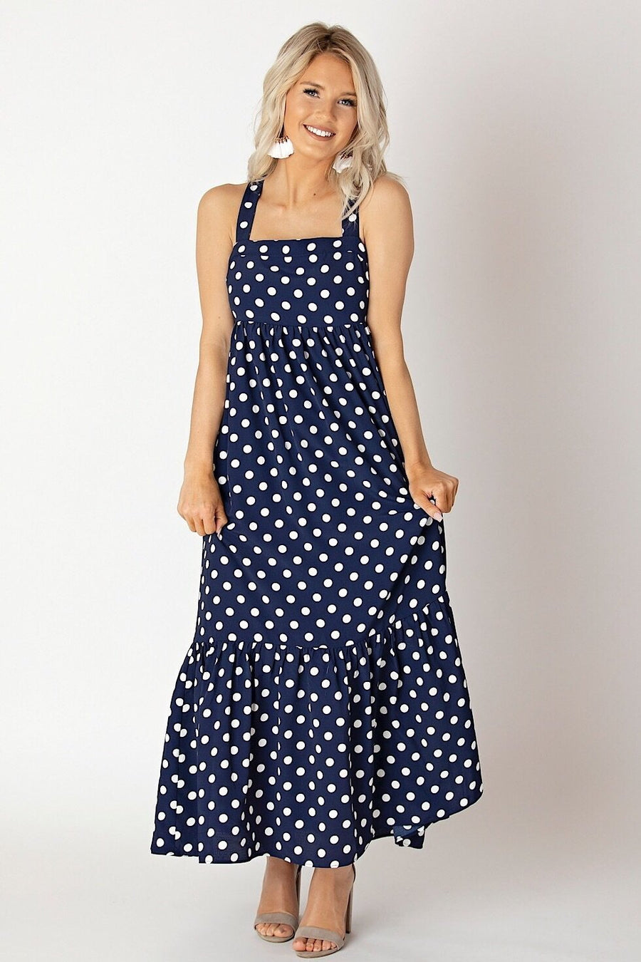 English Factory Dress X-Small Navy Polka-Dot Sleeveless Maxi Dress