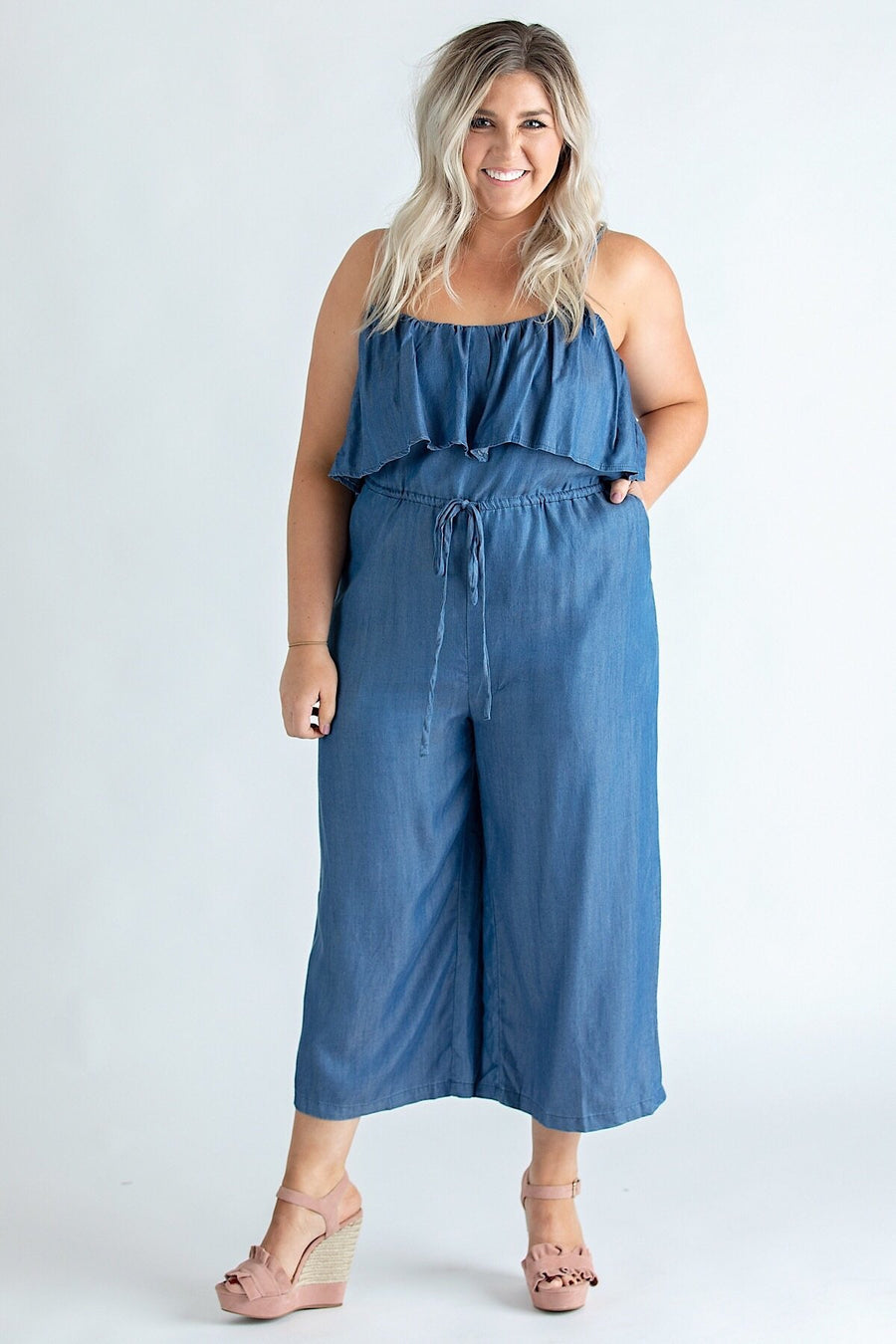 Glam Jumpsuit Small Chambray Ruffle Crop Jumpsuit