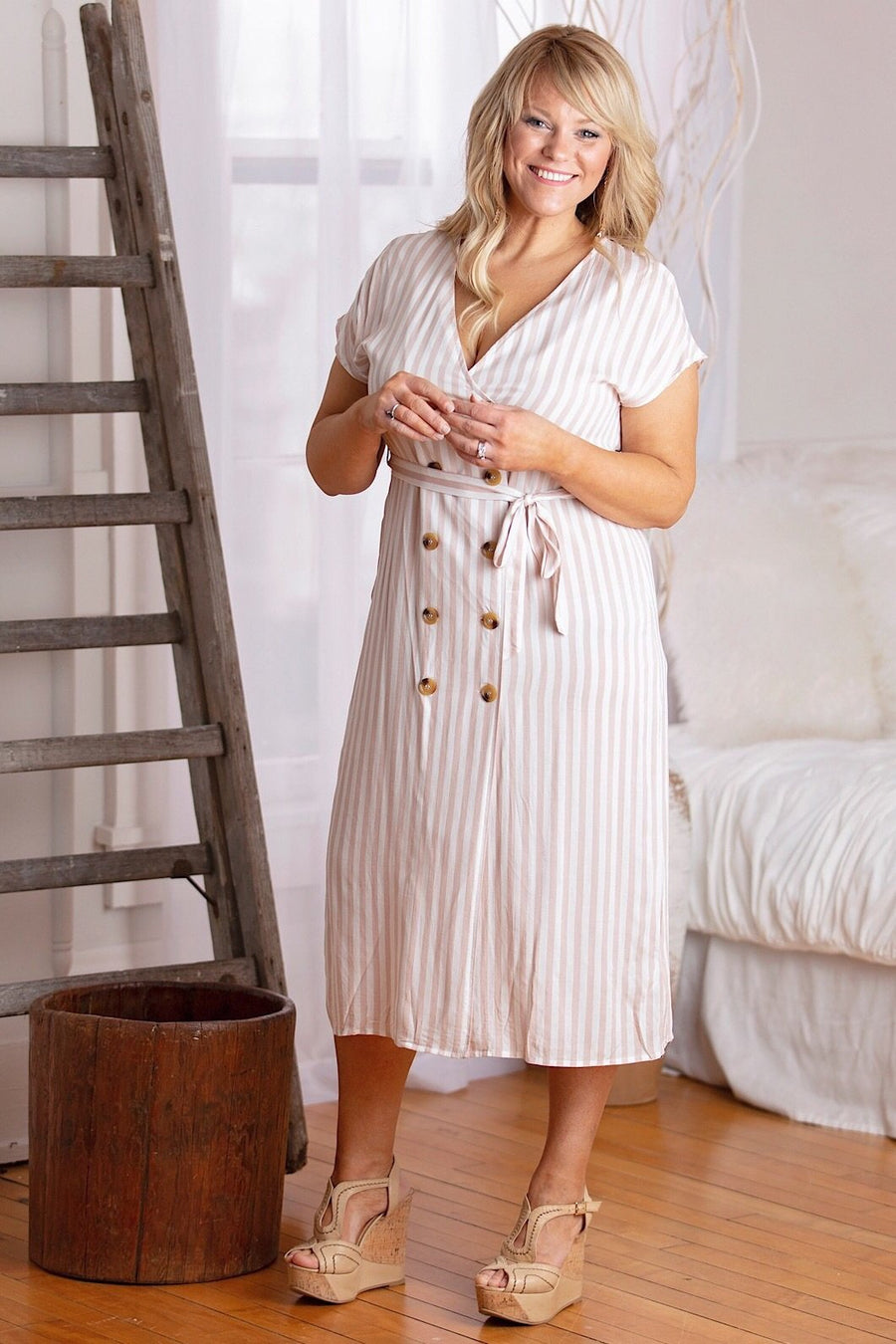 Glamorous Dress Extra Small Brick and Ivory Stripe Button Down Tie Waist Midi Dress