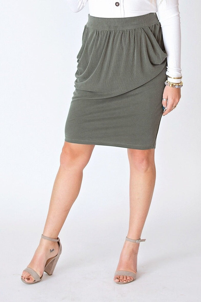 hashtag Skirt Extra Small Olive Draped Pocket Midi Skirt