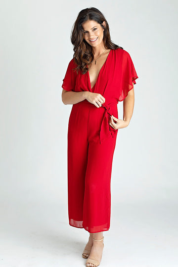 Ruby Chiffon Short Sleeve Jumpsuit