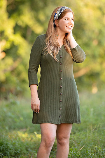 OLIVE WAFFLE KNIT BUTTONED QUARTER SLEEVE DRESS