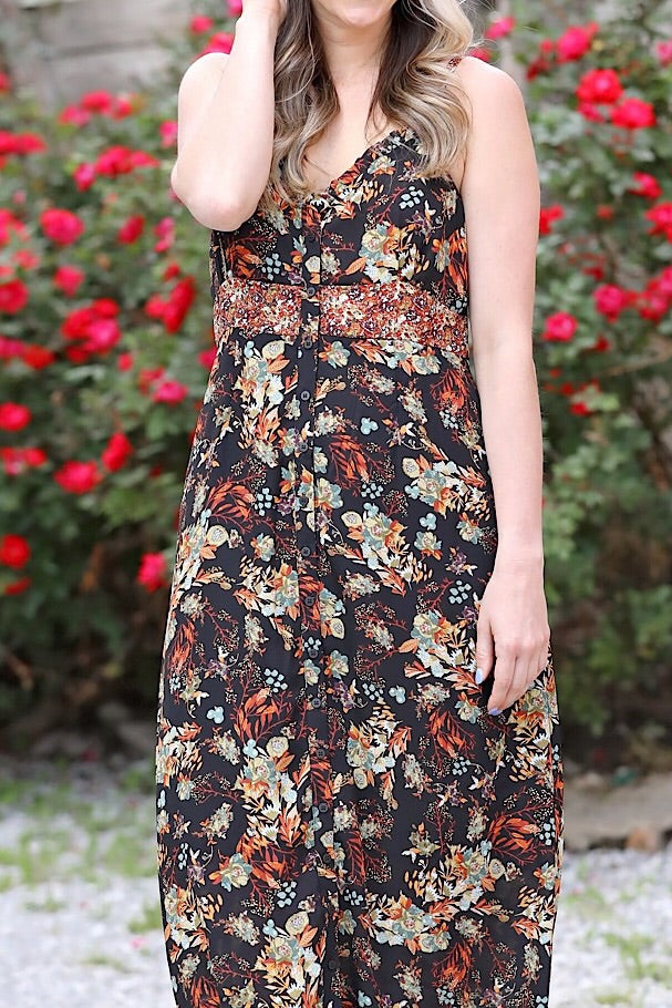Black Frilled Edge Floral Printed Maxi Dress
