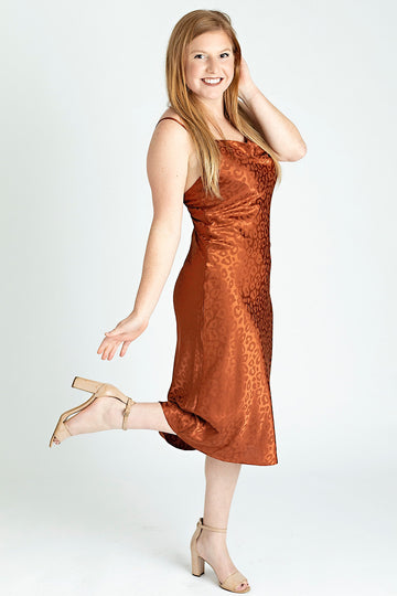 Rust Leopard Print Midi Dress