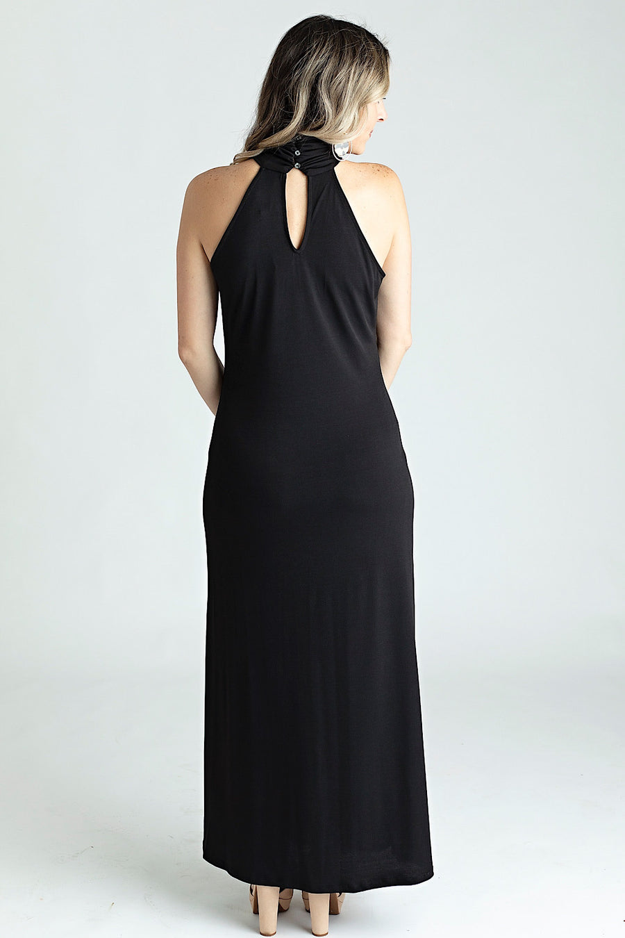 Black High Neck Maxi Dress w/ Front Slit