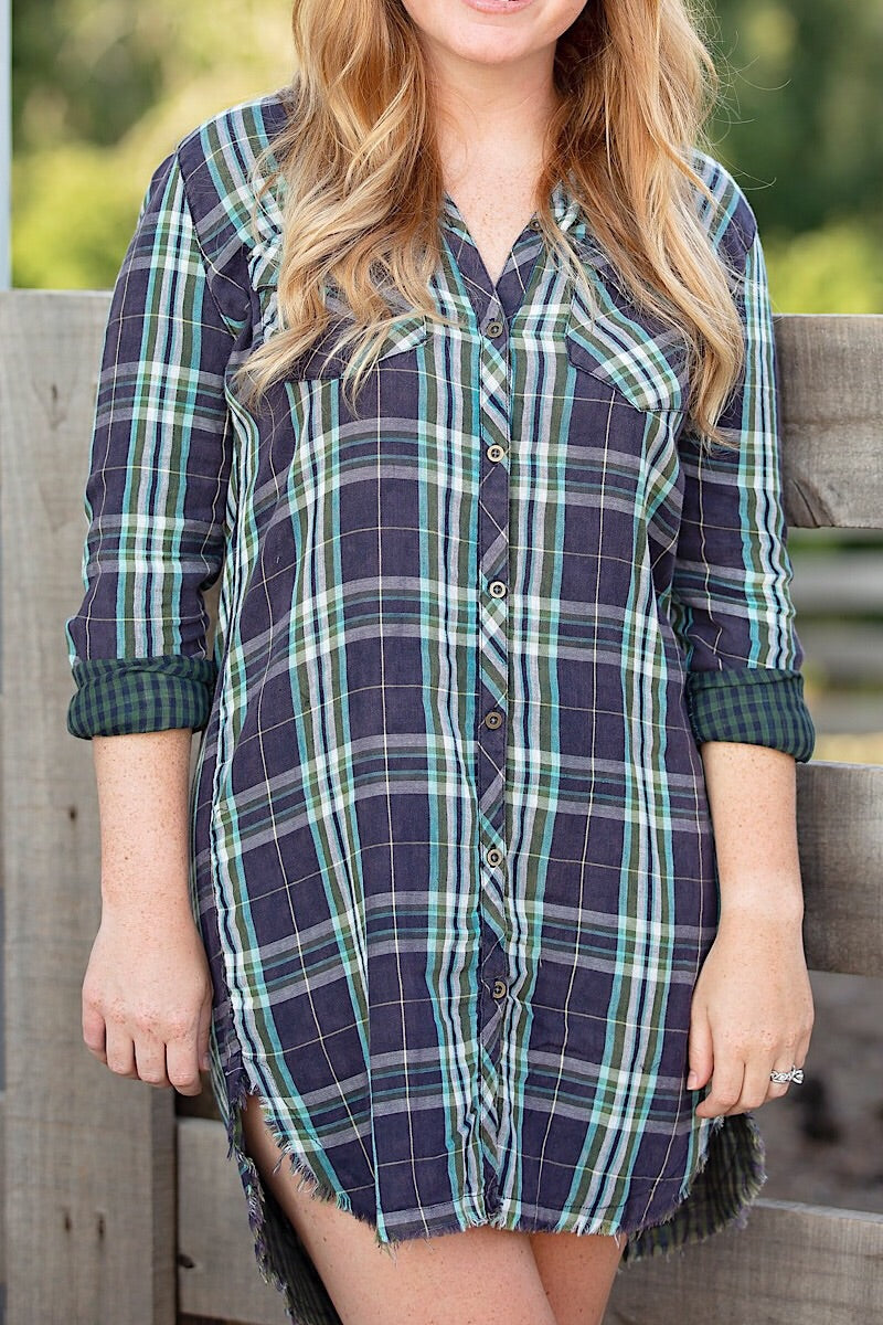 Green and Navy Button Up Flannel Dress
