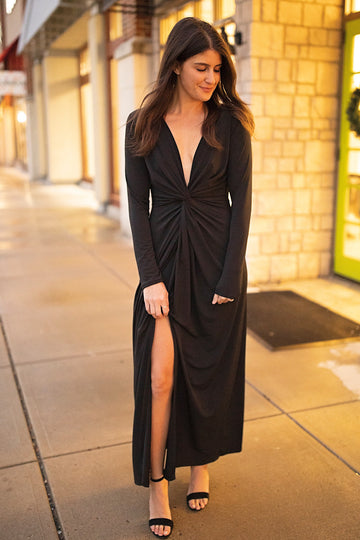 Black Deep V Maxi Dress w/ Slit