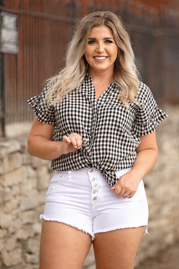 Black Checkered Top