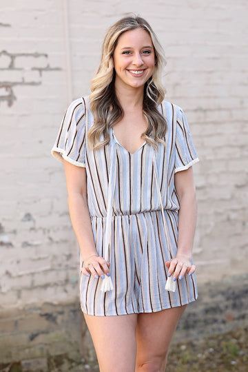 Multi-Colored Striped Romper w/ Tassel Tie