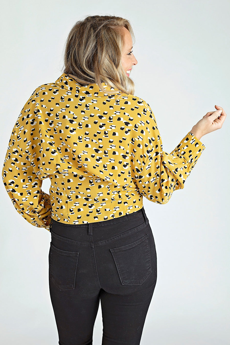 MUSTARD BUTTON DOWN CROP SHIRT
