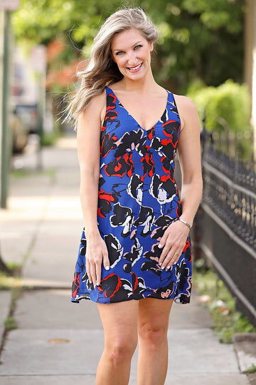 Navy Floral Slip Dress