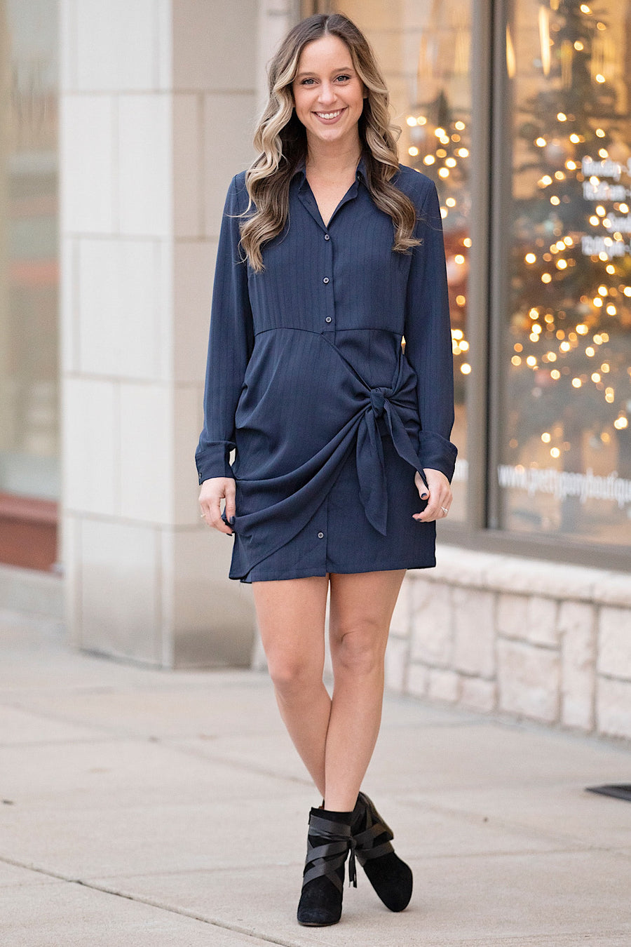 Navy Tie Front Long Sleeve Dress