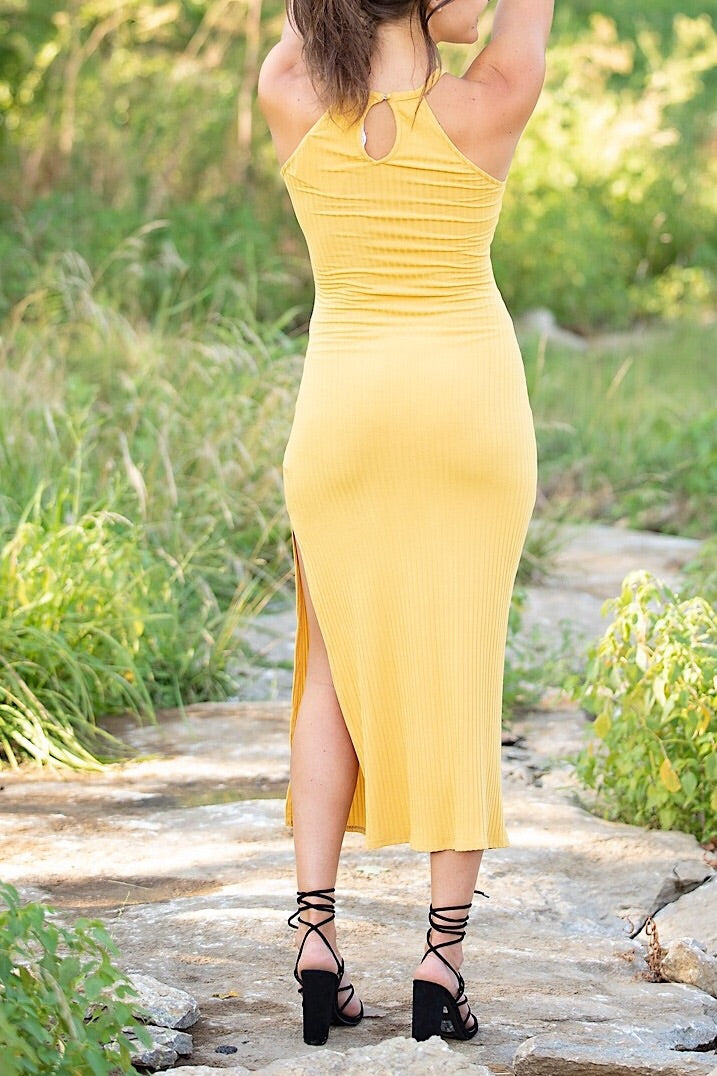 Kylie Mustard Knit Maxi Dress