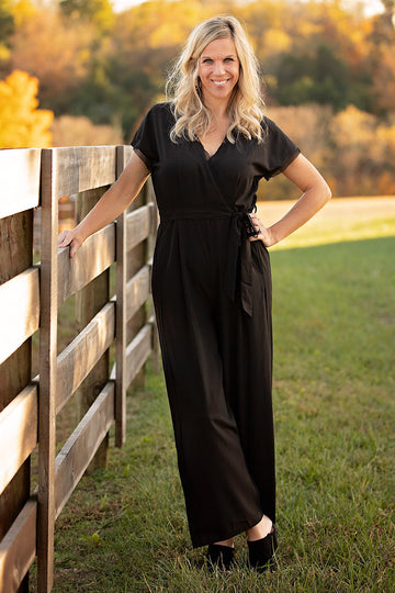 Black Drop Shoulder Belted Jumpsuit