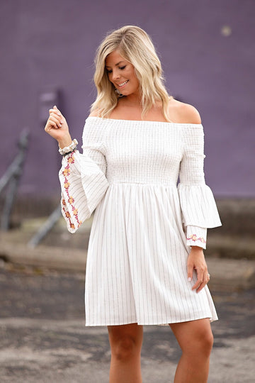 Off White Off the Shoulder Smocked Dress