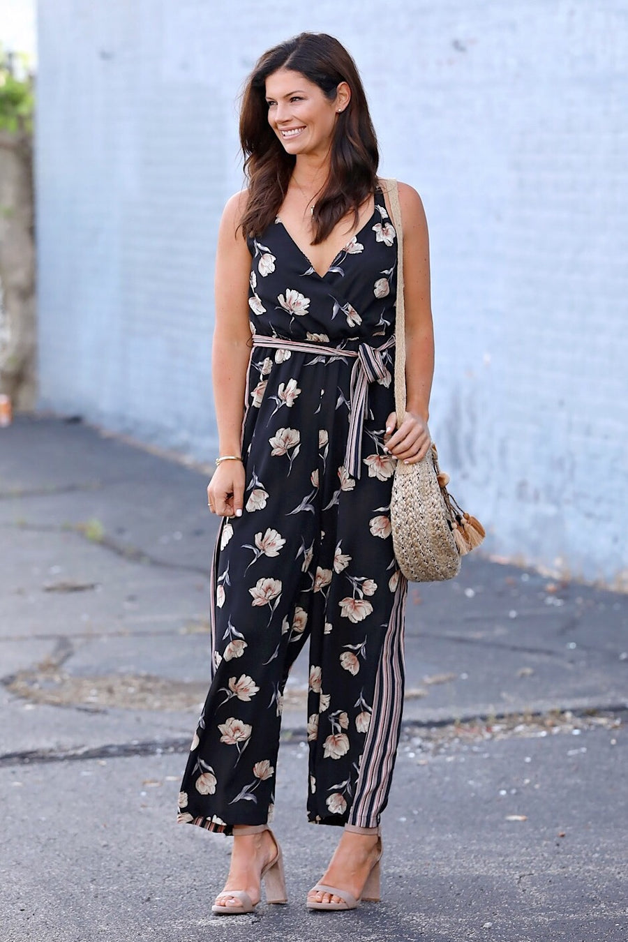 Black Multi Surplus Front Jumpsuit