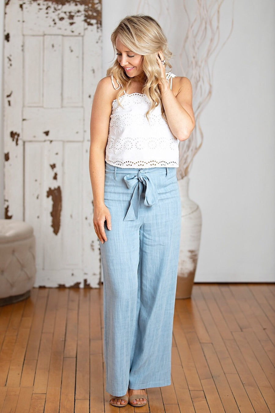 Chambray Wide Leg Trouser w/ Tie Belt