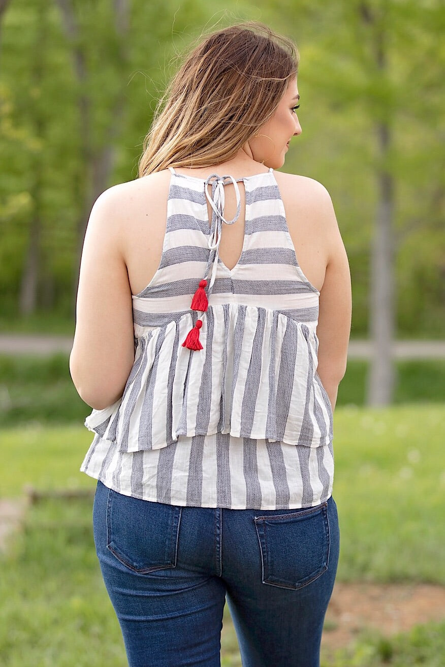 Cream Embroidered Stripe Halter Top