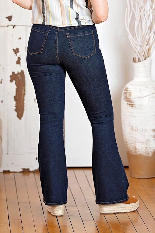 Dark High Rise Flare Denim