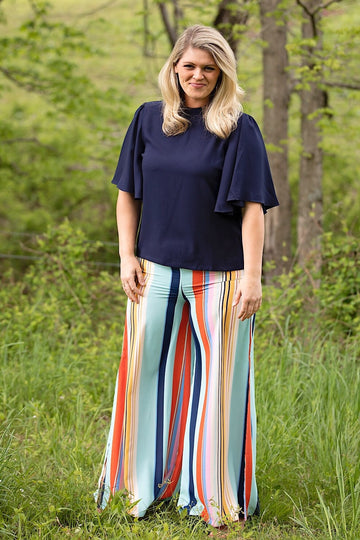 Multicolor Wide Leg Pants