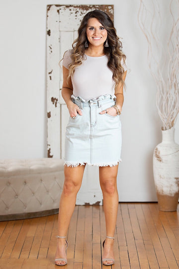 Bleach Stone Wash Paper Bag Denim Skirt