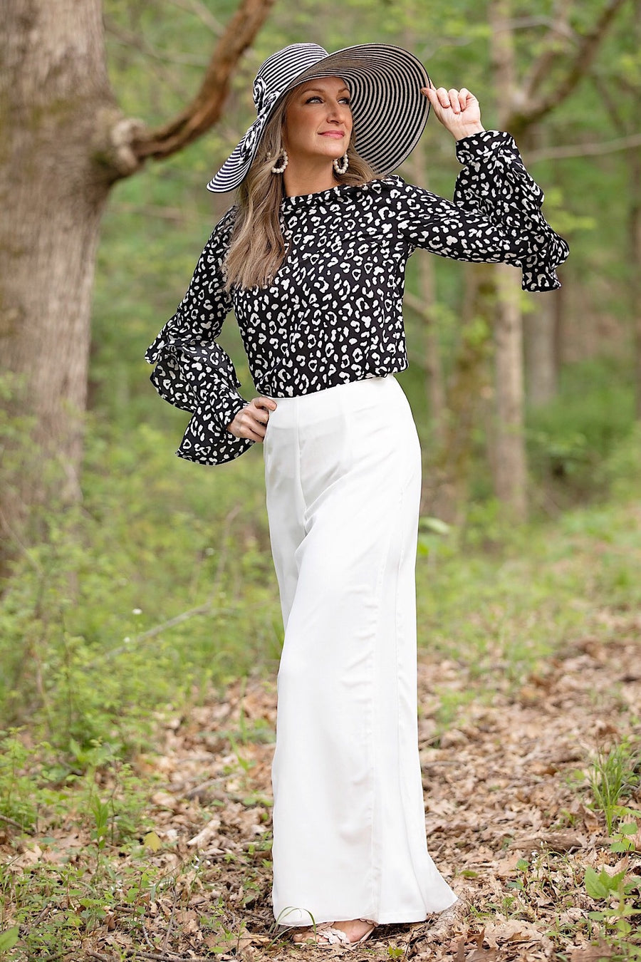 White Wide Leg Flowy Pant