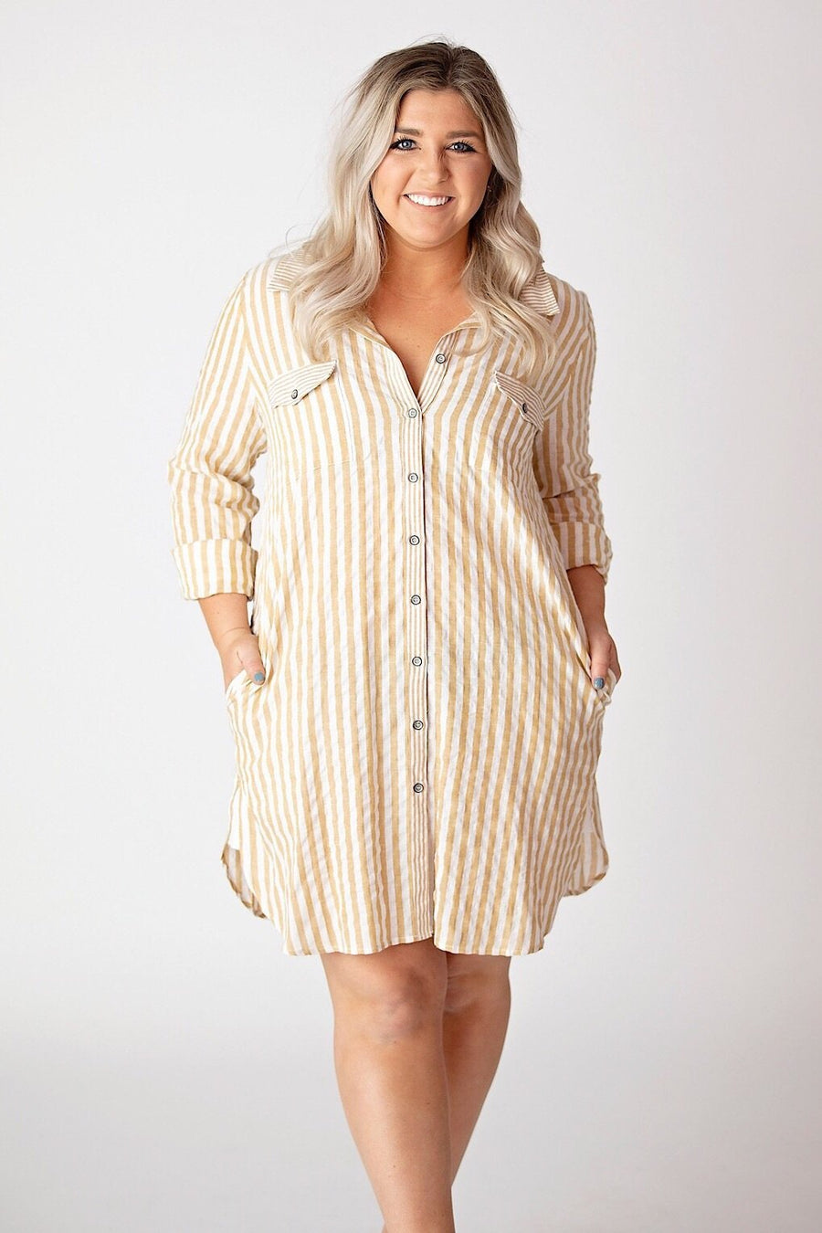 Mystree Dress Small Mustard/Off White tie back stripe shirt dress