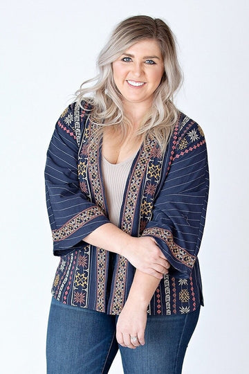 THML Cardigan Extra Small Navy Embroidered Stripe Open Front Cardigan