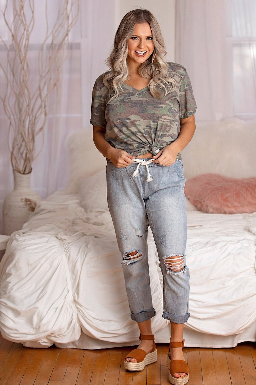 Vintage Havana Pants Small Light Denim Slouchy Boyfriend Fit Distressed Jogger Pant