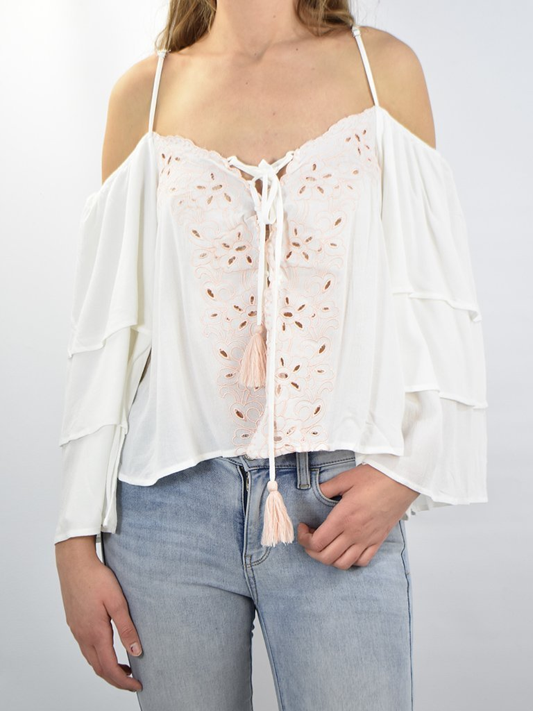 2314a9cca8da58 Ivory Lace Up Cold Shoulder Top w/ Light Pink Embroidery – The ...