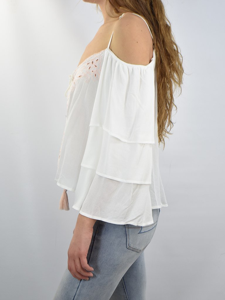 4794f695305a4a Ivory Lace Up Cold Shoulder Top w/ Light Pink Embroidery. Size Charts.  inches