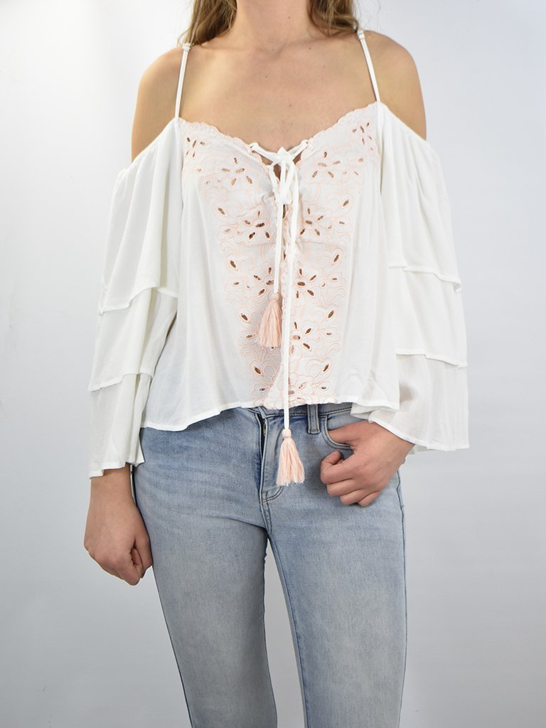 Vintage Havana Top Ivory Lace Up Cold Shoulder Top w/ Light Pink Embroidery