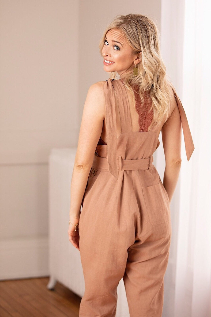 Wish List Jumpsuit Small Caramel Linen Adjustable Strap Overalls