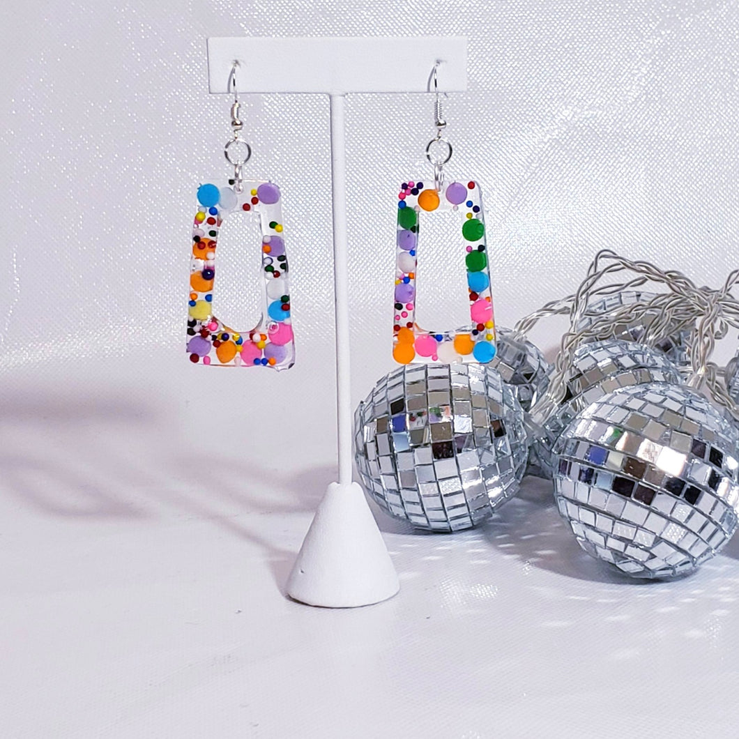 SQUARE MULTI-COLORED DANGLES