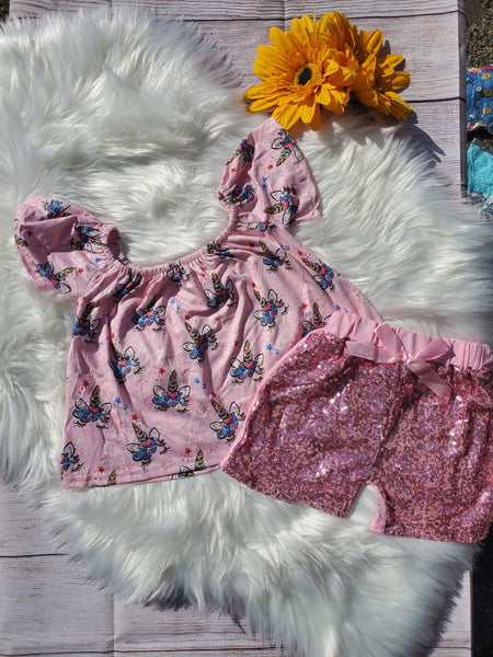 Unicorn Tunic with Pink Sparkle Shorts