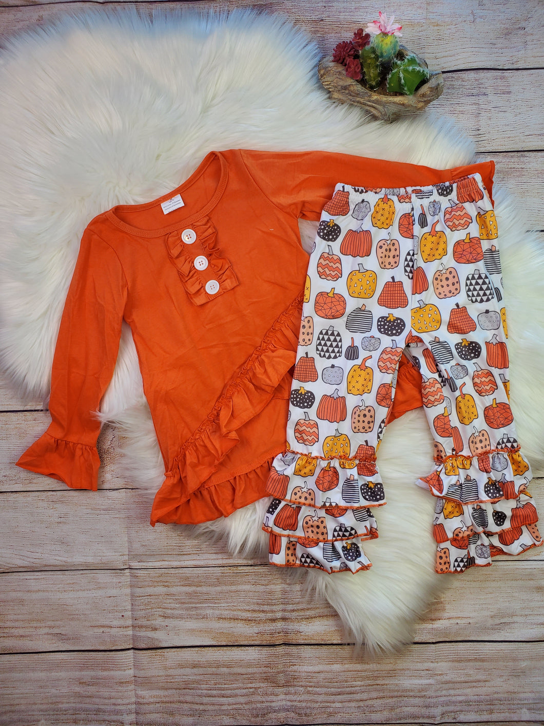 Orange High Low Tunic with Fall Pumpkin Ruffle Pants