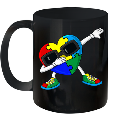Dabbing Heart Puzzle Pieces Autism Dab Boys Girls Kids Mug