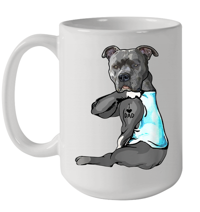 Funny Strong Pitbull Dog I Love Dad Tattoo Father's Day Gift Mug