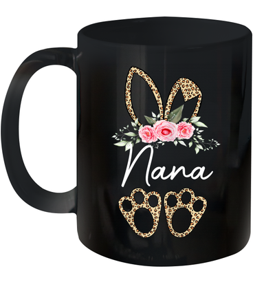 Leopard Bunny Nana Easter Day Rabbit Funny Happy Easter Day Mug