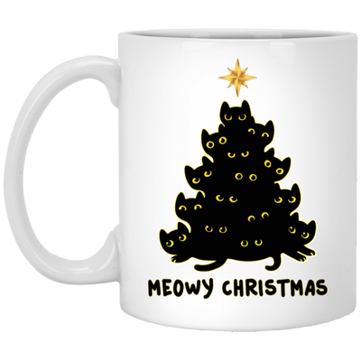 Black Cat Meowy Christmas Mug