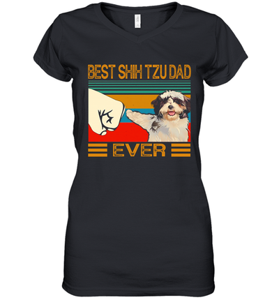 Best Shih Tzu Dad Ever Retro Vintage Shirt